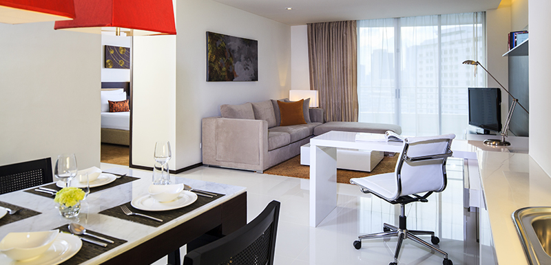modern furniture in clean Three Bedroom Holiday Apartment with free Wi-Fi access at Oaks Bangkok Sathorn hotel in Thailand