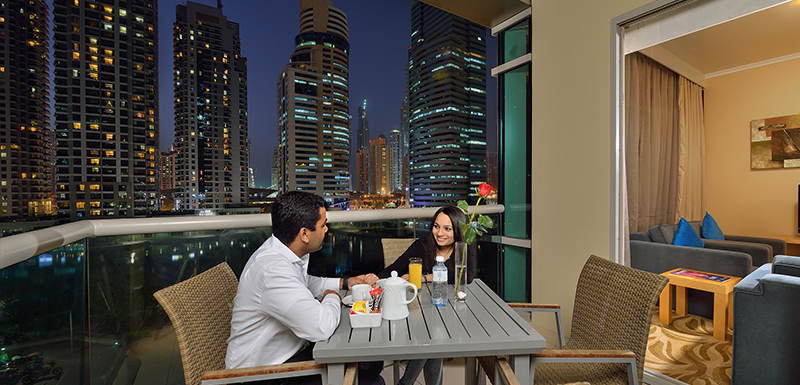 Balcony with Dubai City Views at Oaks Liwa Heights