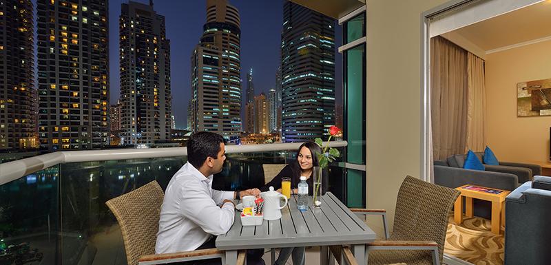 Balcony with Dubai City Views at Oaks Liwa Heights
