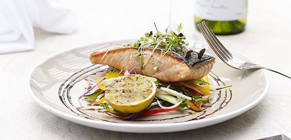 Crusted salmon served seasonal vegetables at Bodega popular restaurant hunter valley