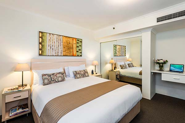 Sydney city hotels studio accommodation with large wardrobe, full-length mirror and work space for business travellers visiting Sydney city centre