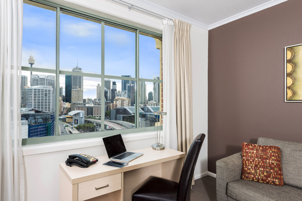 Hotels near Darling Harbour with work desk for corporate travellers visiting Darling Harbour staying in 2 bedroom hotel apartment at Oaks Goldsbrough Apartments with views of Sydney city
