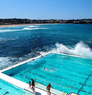 bondi icebergs swimming pool during summer with waves crashing