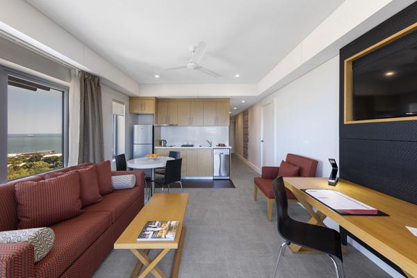 Serviced apartments darwin apartments at oaks elan darwin Dual purpose living room bedroom