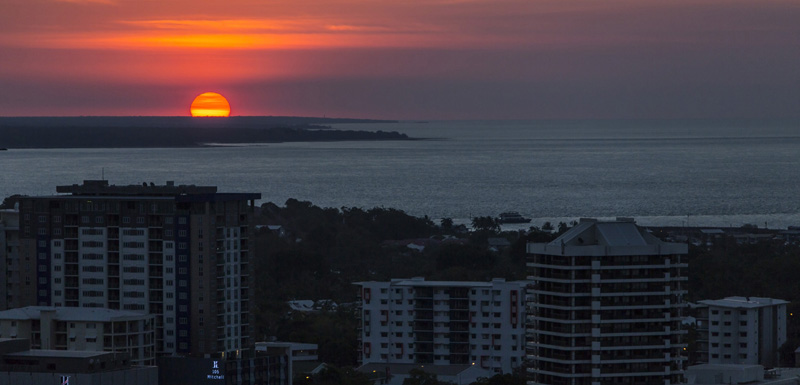 view of sunset in Darwin from 2 bed hotel apartment at Oaks Elan Darwin hotel Northern Territory, Australia