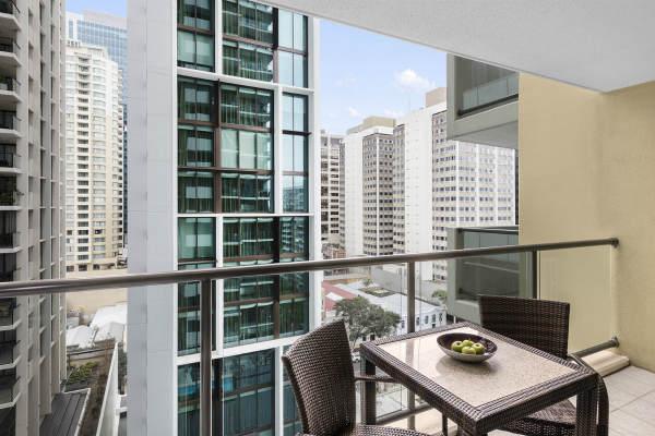 balcony in 2 bedroom apartment at Oaks 212 Margaret Street hotel in Brisbane city
