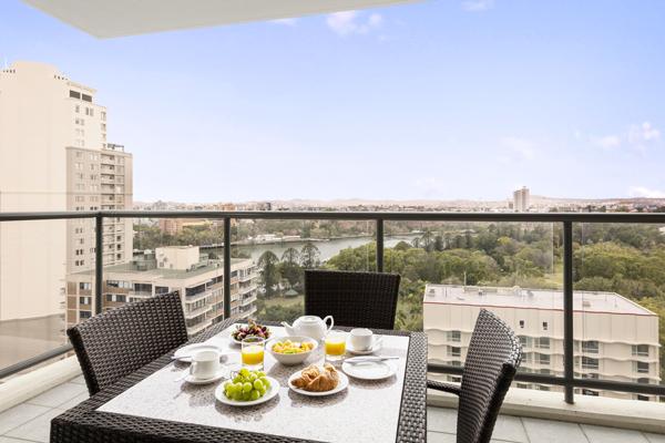 view of Brisbane River from balcony in best hotel in Brisbane city