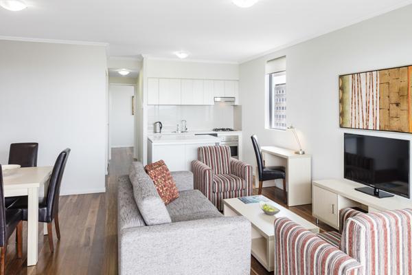 large living room in 2 bedroom apartment at Oaks 212 Margaret hotel in Brisbane CBD