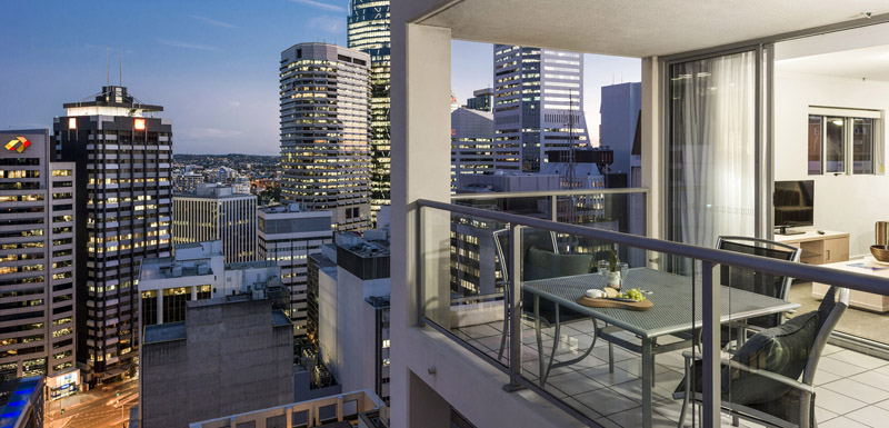 Hotels In Brisbane City Centre With Balconies Tables Chairs And Views Of