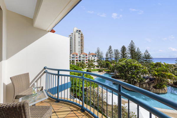 View From 1 Bedroom Apartment Balcony Of The Ocean And Swimming Pool At  Oaks Calypso Plaza