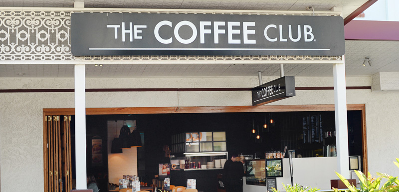 The Coffee Club sign outside popular restaurant near Gladstone Airport