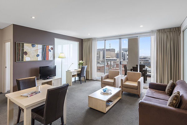 interior view of serviced apartments Adelaide cbd for corporate travel clients staying in Adelaide CBD walking distance from Convention Centre