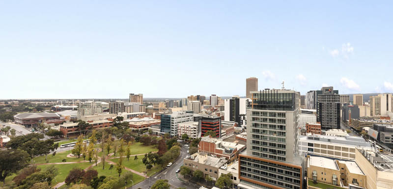 aerial view of Adelaide city and green park from balcony of 2 bedroom apartment at iStay Precinct hotel