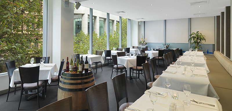 interior of First Floor Restaurant on Collins Street in Melbourne city with steak and chips menu meal on table