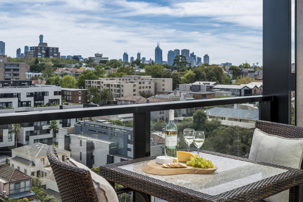 Affordable hotels in Victoria with private balcony at South Yarra accommodation with views of Melbourne city below at Oaks South Yarra hotel