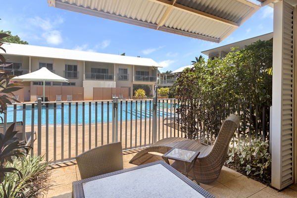 small private courtyard on ground level of Oaks Broome hotel outside 2 bedroom hotel apartment with swimming pool in Western Australia