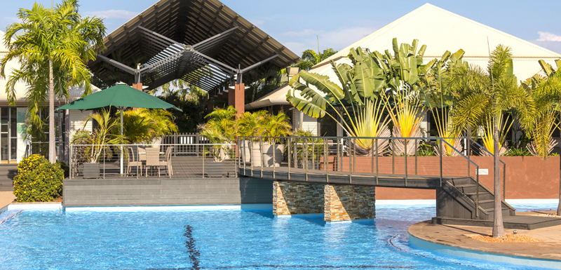 Cable Beach Hotels Large Swimming Pool With Bridge Over Water Leading To Entrance Of Popular Cables