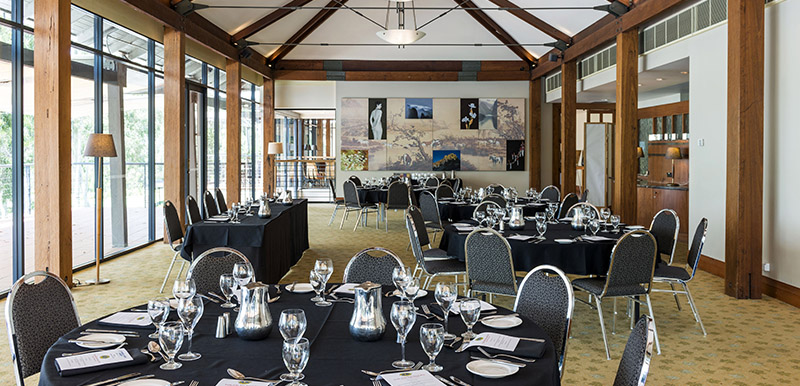 meeting room set up for large event in hunter valley with catering provided
