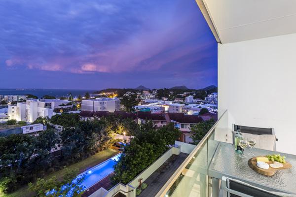 Port Stephens hotel with balcony views of sea