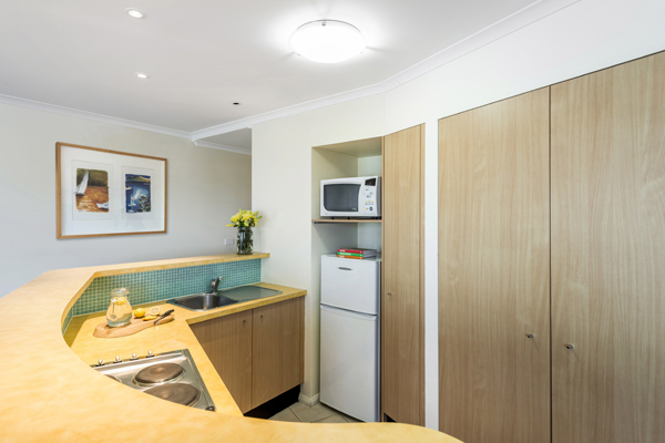 2 bedroom hotel apartment kitchen with full size fridge and microwave