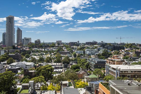 aerial view of Sydney city from Oaks Hyde Park Plaza hotel balcony
