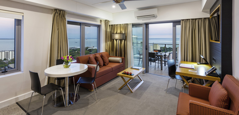 air conditioned 2 bedroom apartment with flat screen television and balcony with views of harbour and ocean