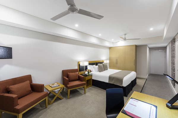 spacious, modern hotel room at Oaks Elan Darwin in NT, Australia