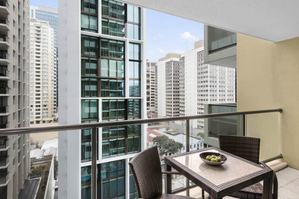 balcony in 2 bedroom apartment at Oaks 212 Margaret Street hotel in Brisbane city