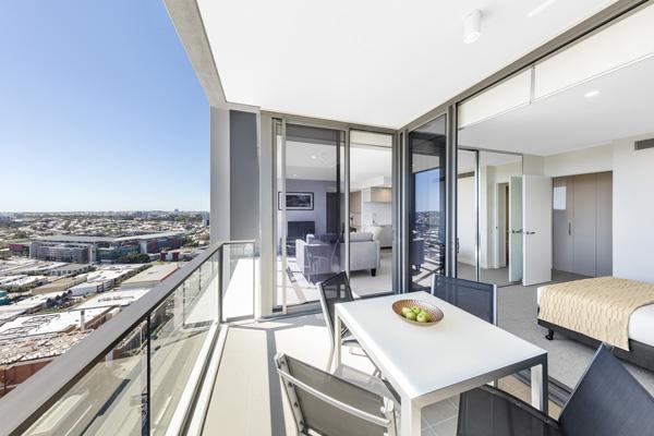 2 bedroom apartment with big balcony overlooking Suncorp Stadium near train station at The Milton Brisbane hotel