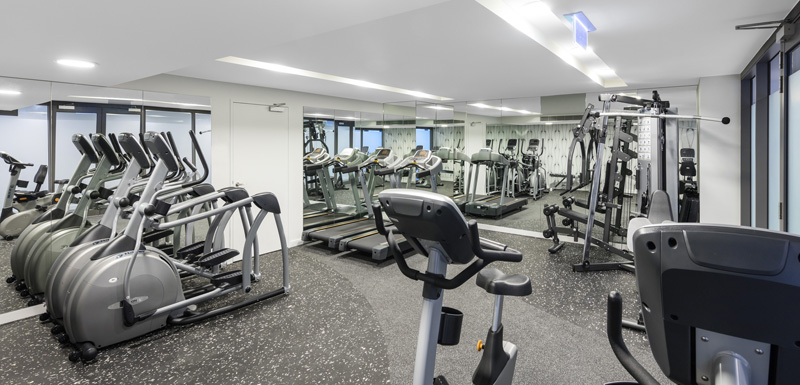 fully equipped gym with weights, treadmill and elliptical cross-trainers at The Milton Brisbane hotel