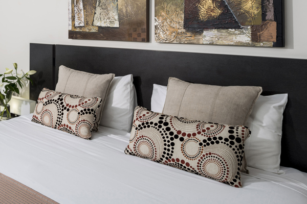 queen size bed with comfortable pillows at Oaks Aspire hotel Ipswich, Queensland