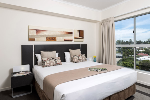 Oaks Aspire hotel air conditioned 1 bedroom apartment with large windows in Ipswich, Queensland