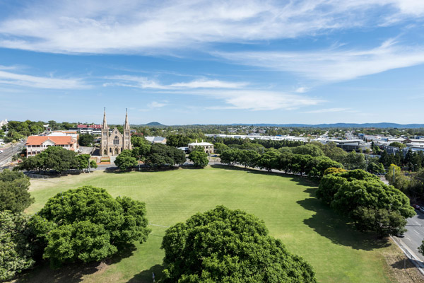 aerial view of park and church in Ipswich from Oaks Aspire hotel in Queensland