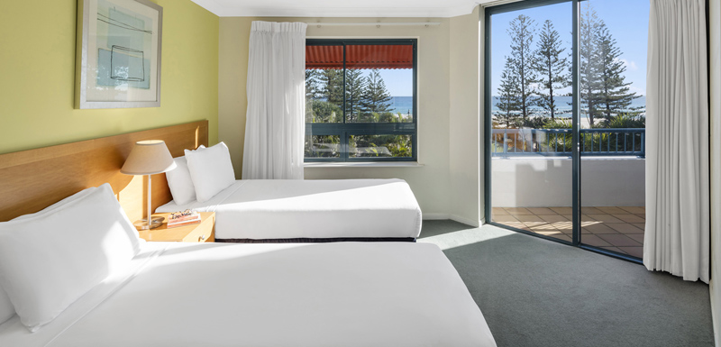 2 double beds in two bedroom apartment with balcony near beach and ocean in Coolangatta, Gold Coast, Australia