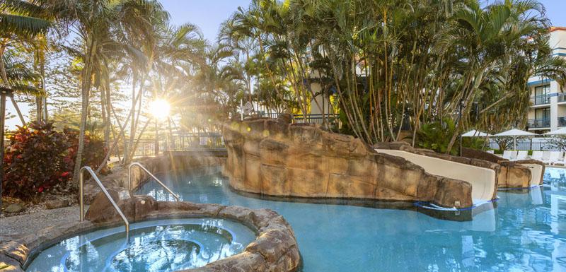family friendly swimming pool and spa at Oaks Calypso Plaza resort in Coolangatta, Gold Coast, Australia