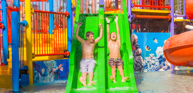 young children playing at Caloundra family friendly water park on Sunshine Coast in Queensland