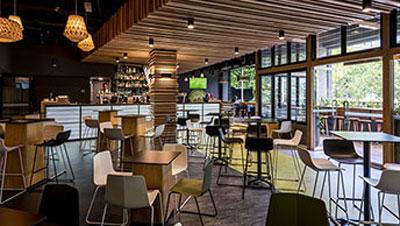 modern furniture in popular Oak and Vine restaurant on Market St in Melbourne CBD, Victoria, Australia
