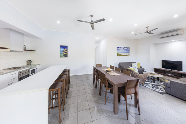 large cool open plan hotel accommodation with air con, Wi-Fi, comfortable furniture and Foxtel ideal for a family holiday in Broome, Western Australia