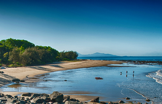 Mackay hotels on beachfront with tourists walking dogs in the morning whilst on holiday in Queensland, Australia